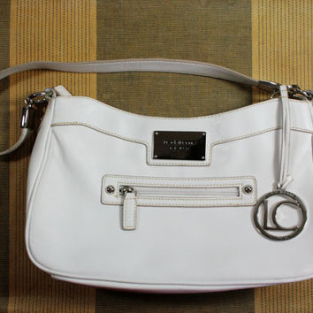 Vintage Liz Claiborne White Leather Hand Bag Purse