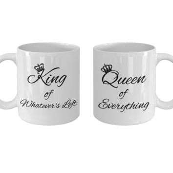 King and Queen of Everything Coffee Mug Set, Couple Mugs, His and Hers Gifts, 11oz, Set of 2