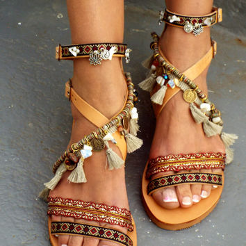 "Leather Boho Sandals, ""Atlantida"", Greek Sandals, Handmade Sandals, brown summer sandals, hippie sandals, Bohemian sandals"