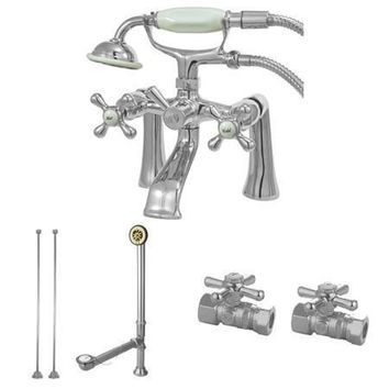 CCK268C  Vintage Deck Mount Clawfoot Tub Faucet Package in Polished Chrome