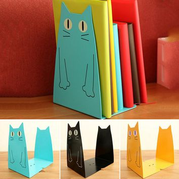1pair Kawaii Cartoon Cat Bookend Home Office Book Holder Shelf Accessory For Students Office  Metal Bookends Iron Animal