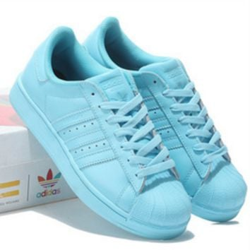 "Fashion ""Adidas"" Shell-toe Flats Sneakers Sport Shell-toe Pure color Shoes (7-Color) Sky blue"