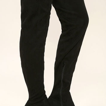 Imani Black Suede Thigh High Boots