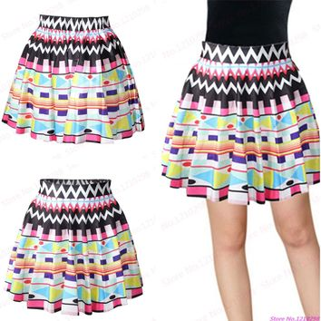 New arrival Colorful Geometry Printed MiniSkirts Female Elastic Pleated Above Knee Skirts Tennis Skirts