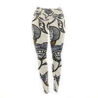 "Gill Eggleston ""Future Nouveau"" Tan Floral Yoga Leggings"