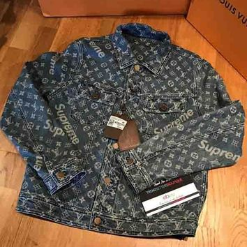 Louis Vuitton X Supreme Fashion Unisex Personality Print Long Sleeve Cowboy Cardigan Jacket Coat I