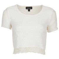 Short Sleeve Lace Crop Top - White Is Right  - We Love