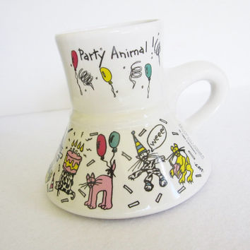 Vintage Feltman Langer Party Animal Cats No Spill Coffee Mug