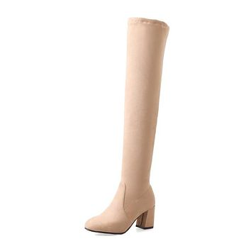 Slim Chunky Heeled Faux Suede Tall Boots 5786