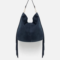 SUEDE SHOPPER WITH FRINGE
