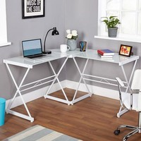 Atrium Metal and Glass L-shaped Computer Desk, Multiple Colors - Walmart.com