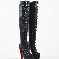 AUGUAU Black Christian Louboutin Leather  Maxicroche  Thigh-High Boots