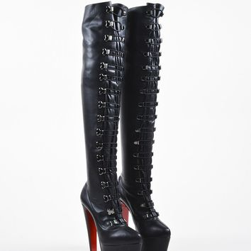 HCXX Black Christian Louboutin Leather   Maxicroche   Thigh-High Boots