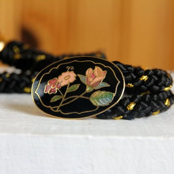 1980s black and gold rope belt // floral by theDarlingVintage