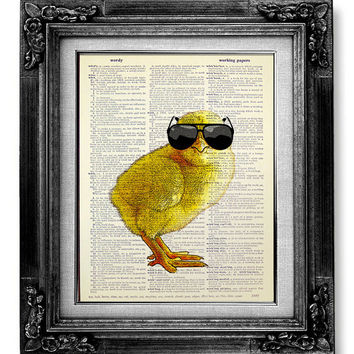Baby CHICK Chick, Baby Chicken Art, DICTIONARY Art Print Dictionary Paper, CHICKEN Decor Hipster Art Print, Nerd Poster, Chic Sunglasses Art
