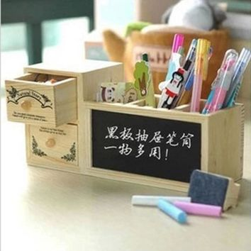 Cute Wooden Pen Holder Creative Pencil Case Pencil Box with Drawer Blackboard Office School Supplies Free shipping 1180