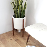 """Large MidCentury Modern Planter and solid Wood Planter Stand, 12"""" Ceramic Cylinder Pot"""