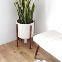 "Large Mid Century Modern Planter and solid Wood Planter Stand, 12"" Ceramic Cylinder Pot"