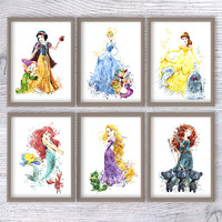 Disney princess poster Set of 6 Disney wall decor Girls room decoration Wall  hanging Kids room wall art Nursery room decor Gift idea V437