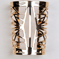 Gold Cut-Out Long Cuff Bracelet