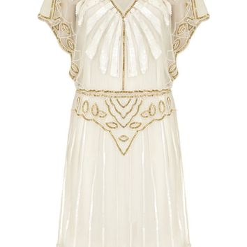 Angel Sleeve Art Deco Inspired Dress in White