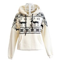 Winter Womens Deer Hooded Hedging Loose Sweater-EMS from ClothLess