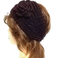 Women's Dark Brown Large Crochet Flower Adjustable 2 Button Stretch Headband Ear Warmer Crochet Headband