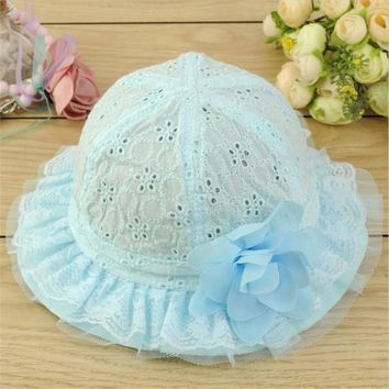 Baby Hollow Out Flower Hat Sun Cap Pure Color Lace Sunshade Summer Beach Bucket Cap