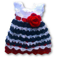 Handmade baby dress Baby outfit My First 4th Of July Red blue crochet baby dress