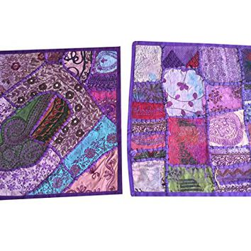 2 Ethnic Purple Cushion Cover Patchwork Embroidered Cotton Square Pillow Cases 16x16