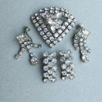 1950's Vintage Rhinestone Pin & Two Pair Earrings Set
