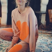Wildfox Couture Big Bold Heart Kim Sweater in Dirty Coral Paint