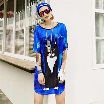 just.be.never women vogue long tshirt unicorn kawaii cat letter print splice mesh tops blue summer female  80's graphic tees
