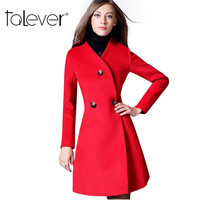 New Design Fashion Long Woolen Coat 2017 Spring Autumn and Winter Women's Solid Woolen Coat Longqibeauty Slim V-Neck Coat