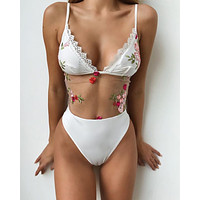 Summer Comfortable High Quality Embroidery Sexy Lace Swimwear [2074198016097]