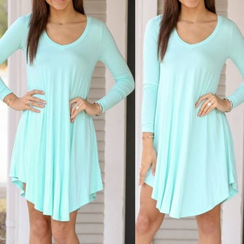 Mint Green Long Sleeve Midi Dress