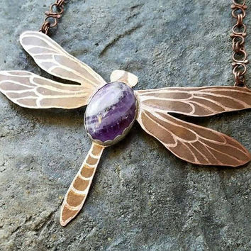 Amethyst Dragonfly Necklace Copper and Amethyst Pendant bezel set Amethyst insecy Jewelry February birthstone handmade chain