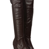 Brown Two Tone Faux Leather Over the Knee Platform Wedge Boots
