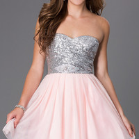 Short Strapless Sweetheart Dress 586F636 with Sequin Bodice by Bee Darlin