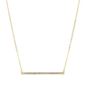 Modern Chic Crystal Simple Horizontal Bar Necklace