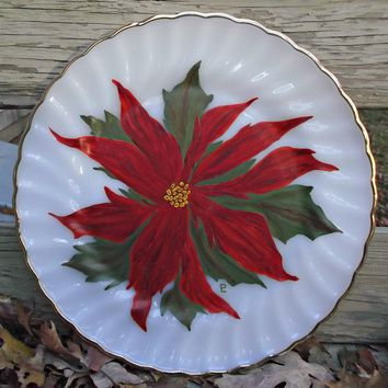 Fire King Golden Shell Plate Hand Painted Poinsettia Vintage Christmas Decor