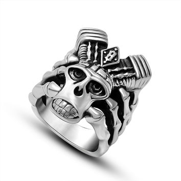 Gift Shiny New Arrival Men Punk Titanium Jewelry Accessory Stylish Skull Ring [6526805251]