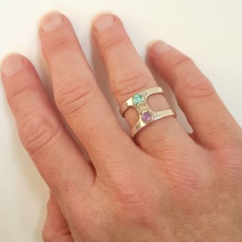 Amethyst, Sand And Turquoise Ring In Sterling Silver Beachy Boho