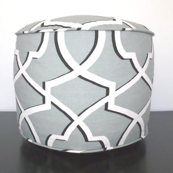 Grey pouf ottoman, geometric ottoman, black and grey pouf, foot rest, grey floor cushion