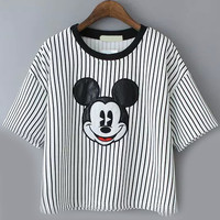 Pale Grey Striped Mickey Pattern Short Sleeve T-shirt