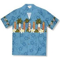 surfboard blue hawaiian border shirt
