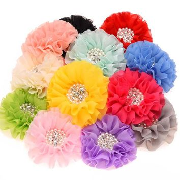 4PCS Pearl Rhinestone Cluster Flower Chiffon Rosette Flowers  s Hair Accessories Without Hairclips