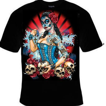pinup skeletons skulls with roses  tee shirt t-shirt cool pin up girl gothic goth girl