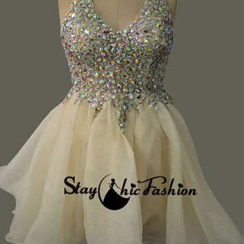 Nude Short Sheer Rhinestone Beaded Halter V Neck Tulle Cocktail Dress 2015