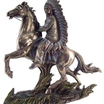 Chief Sitting Bull on Horseback Statue, Bronze Finish 11H